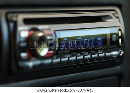 "Black audio car control panel with ""my love"" blue writings. - stock photo"