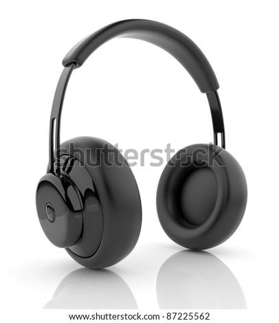 Black audio headphones 3D. Icon. Isolated on white background - stock photo