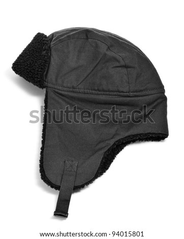 black aviator hat on a white background - stock photo