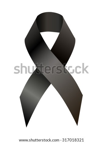 Black awareness ribbon on white background. Mourning and melanoma symbol and Virginia Tech massacre symbol, as well symbol  European Day of Remembrance for Victims of Stalinism and Nazism - stock photo