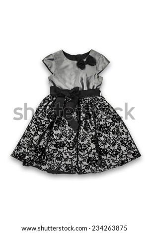 black baby dress with pattern and bow on a white background  - stock photo