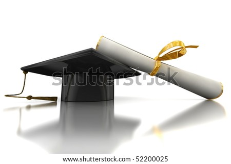Black bachelor's hat and diploma on mirror plane - stock photo