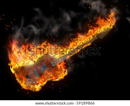 Black background and guitar is in flames - stock photo