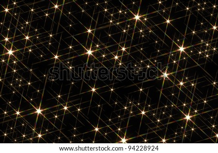 black background blotched with shiny stars - stock photo