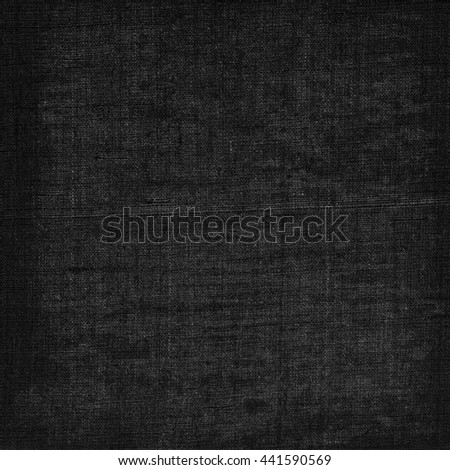 black background old canvas texture - stock photo
