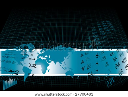 Black background with a financial theme and world map - stock photo