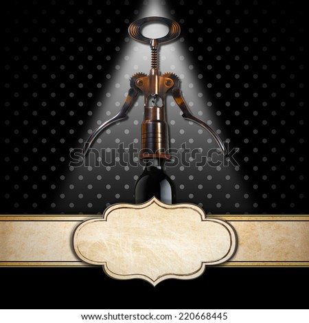 Black background with an old corkscrew, black wine bottle and empty label with a horizontal band. Template for wine list or menu  - stock photo
