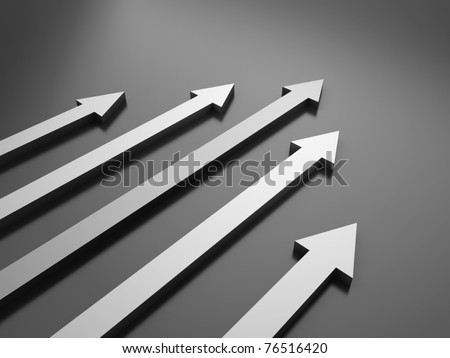 Black background with 5 arrows (success concept) - stock photo