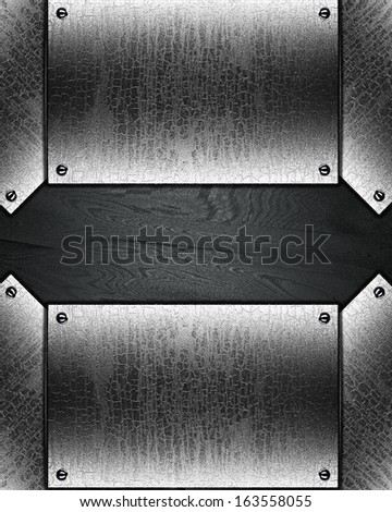 Black background with cracked plate with rivets on edges.. Design template