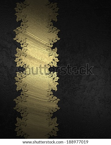 Black background with gold plate with gold trim. Design template. Design for site