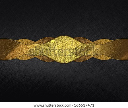 Black background with gold ribbon for writing text. Design template - stock photo
