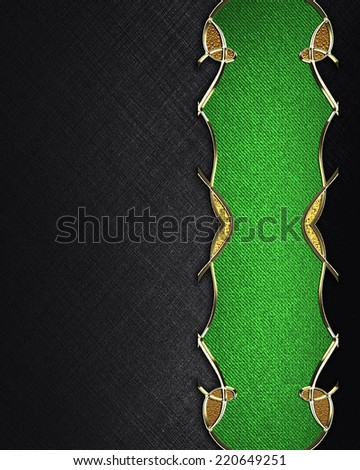 Black background with green sign with gold pattern. Design template. Design site - stock photo