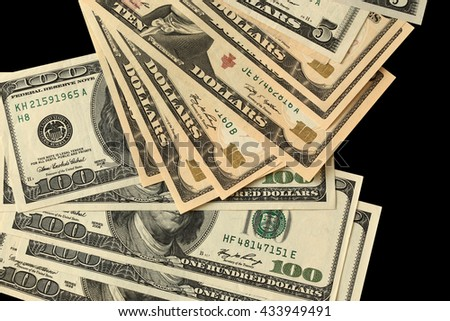 Black background with money American dollar bills
