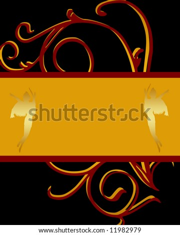 Black background with red and cold design underneath a gold text box with angels