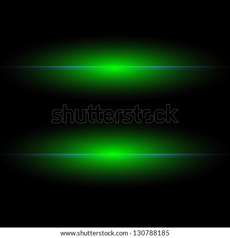 Black background with two green light laser rays - stock photo