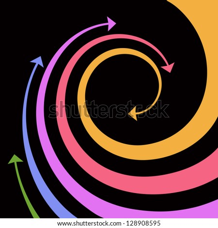Black background with wave of colorful twisted arrows. Abstract illustration with concept of movement with text box. Simple design element for print and web. For vector version see image id 100180508 - stock photo