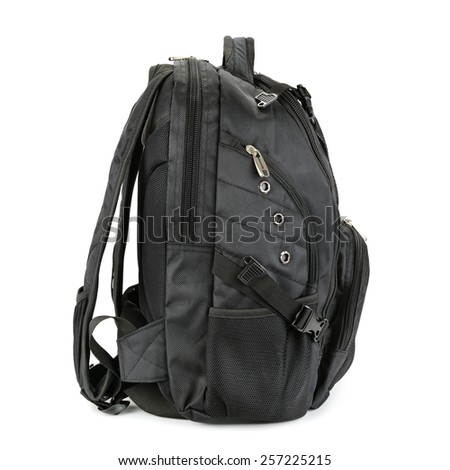 black backpack isolated on a white background - stock photo