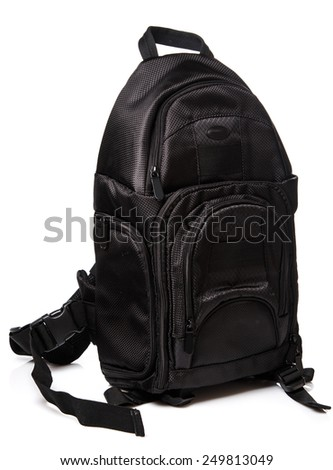 Black backpack on whitebackground
