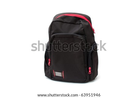 Black backpack with red zipper, image is taken over a white background - stock photo