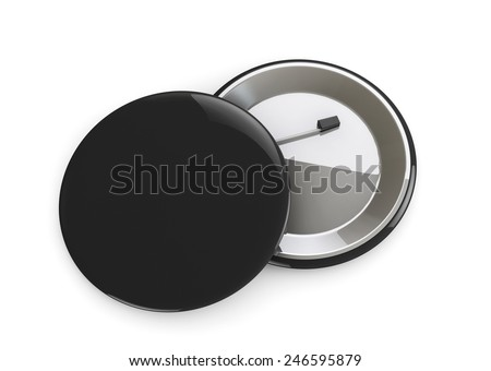 Black Badges front and back view on a white background - stock photo
