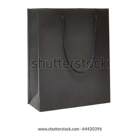 black bag for a retail shopping experience on white - stock photo