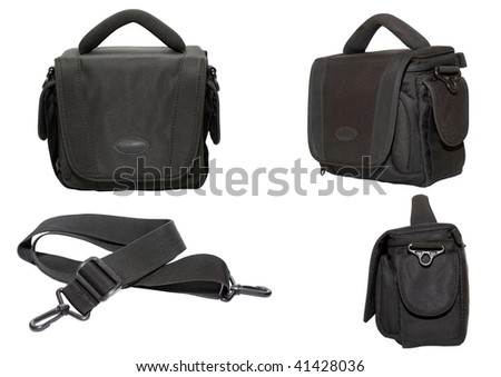 Black bag for photo and video equipment on a white background