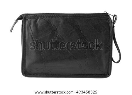 black bag isolated on white background closeup