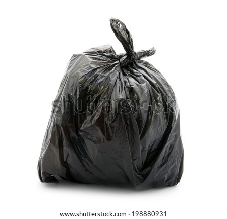 black bag of rubbish isolated on white background - stock photo