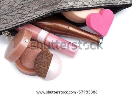 black bag with cosmetics isolated