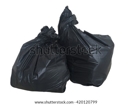 Black bags of rubbish on white background