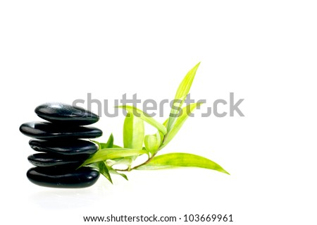Black balanced zen stones with  bamboo - stock photo