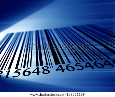 black bar code on a soft blue background - stock photo