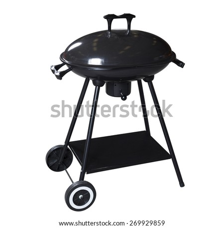 Black barbecue on white background with clipping path - stock photo