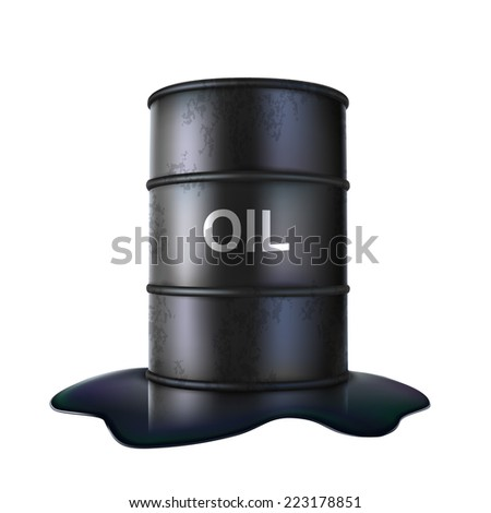 Black barrel on spilled oil illustration. Rasterized version - stock photo