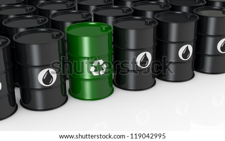 black barrels with one green and with the recycling symbol, concept of alternative energy (3d render) - stock photo