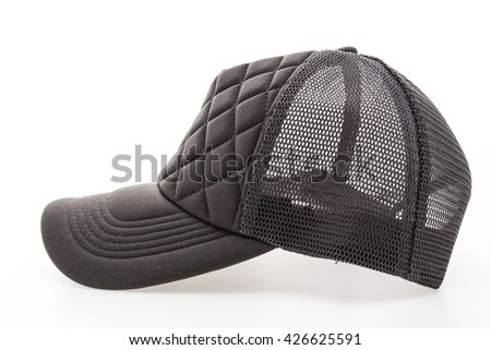 Black Baseball cap or hat isolated on white background