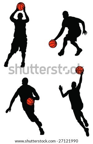 Black basketball players silhouette with color ball
