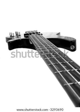 Black bass guitar isolated on white - stock photo