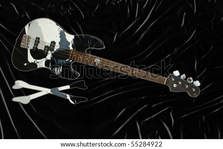 black bass guitar with skull