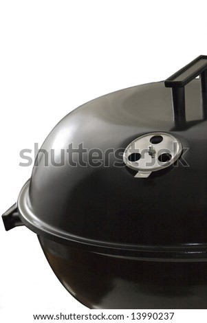 Black bbq close up, isolated on white - stock photo