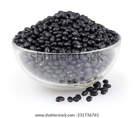 Black beans isolated on white background with clipping path - stock photo