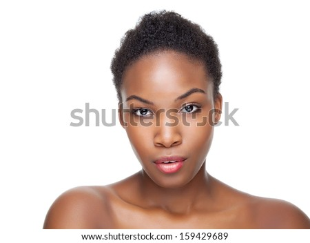 Black beauty with perfect skin and short hair - stock photo