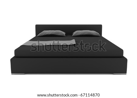 black bed isolated on white background with clipping path