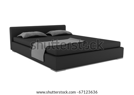 black bed isolated on white background with clipping path - stock photo