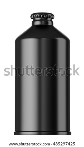 Black beer bottle isolated on white background. 3D rendering. Mock up for your design.