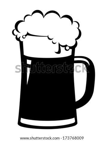 black beer mug on white background - stock photo