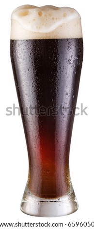 black beer; object on a white background - stock photo