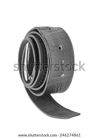 Black belt for trousers on a white background - stock photo