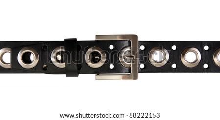 black belt isolated on white background - stock photo