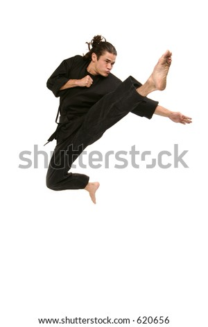 black belt martial artist flies into the air as he kicks and punches in self defense - stock photo